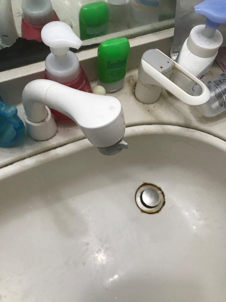本宮市で洗面に落としてしまった!ひげ剃りを除去しました。